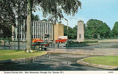 THE COUNTY HALL WAR MEMORIAL OMAGH CO. TYRONE IRELAND POSTCARD by DENNIS 0.0501