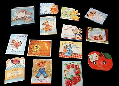 """Boxed Set Greeting Cards - 'Full o' Fun"""" Birthday & Get Well Cds 1940s"""