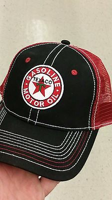 Texaco Motor Oil Gasoline New Hat  Red And Black Man Cave Garage Gas Shop.
