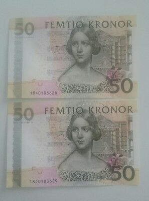 Two 50 Swedish kronor bank notes