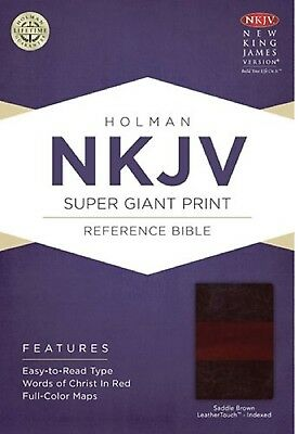 NKJV Super Giant Print Bible Indexed -- Saddle Brown Leathertouch BRAND NEW!!!