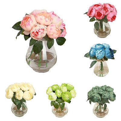 FT- 1 Bouquet 6 Heads Artificial Peony Silk Flower Leaf Home Wedding Decor Delux