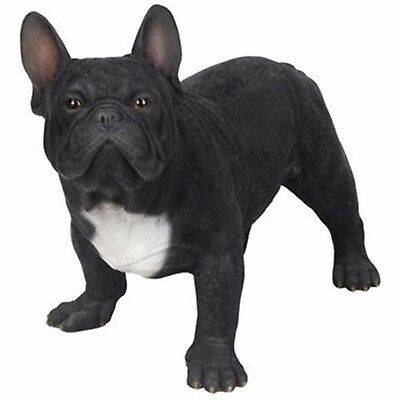 NEW BLACK FRENCH BULLDOG Dog Figurine -Life Like Figurine Statue Home / Garden