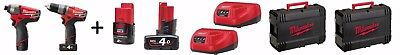 MILWAUKEE KIT FUEL TRAPANO + AVVITATORE + 4 BATTERIE mod. M12 CPP2A-424C NUOVO!