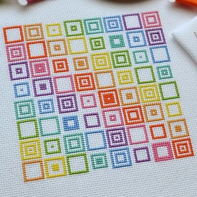 Cross Stitch Kit Geometric Squares Modern Easy Design 14 Count with DMC Threads