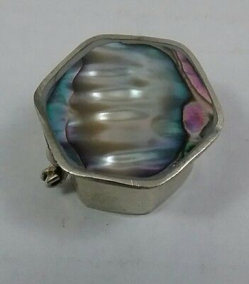 Vintage Mexico Silver Inlaid Abalone Hexagon Hinged Pill Trinket Box