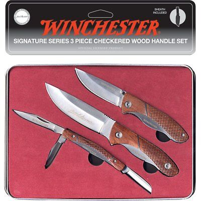 Winchester Signature Series 3 Piece Checkered Wood Handle Gift Set