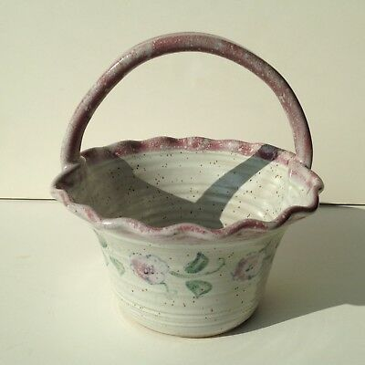 Prairie Springs Pottery Basket With Handle & Floral Decoration Signed N. Gertig