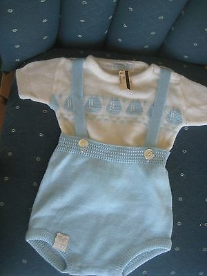 new BABY boy or doll clothes pants ORLON ROMPER sailboat blue XL Hudsons Detroit