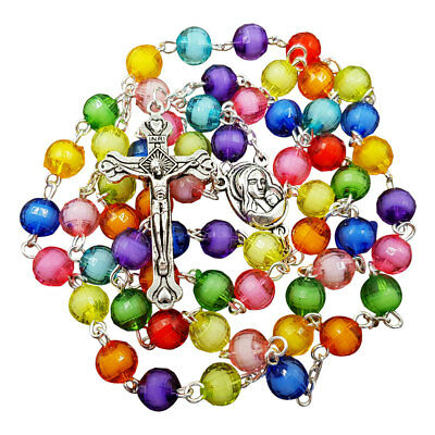 Multicolor Rosary Beads Necklace Blessed Jerusalem Soil Medal Catholic Crucifix