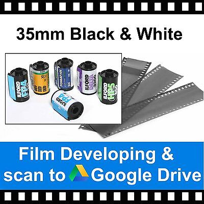 35mm Black & White Film Developing & Scanned to Google Drive - 4.5mb Per Photo