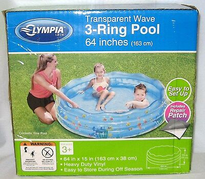Olympia Swim Transparent Wave 3-Ring Pool Includes Repair Patch 64-Inches