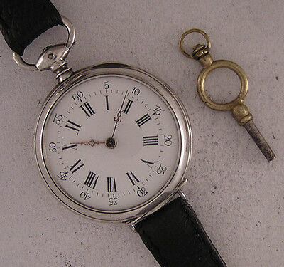 Early Serviced Cylindre 1880 ALL ORIGINAL French SILVER KW/KS Wrist Perfect