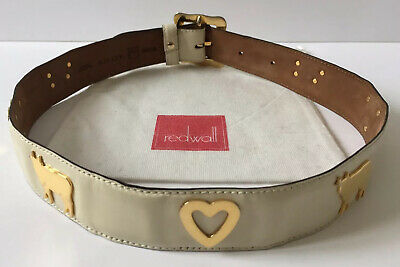 Moschino 100% Authentic Vintage Cream Leather Belt With Cows & Hearts UK 6-8