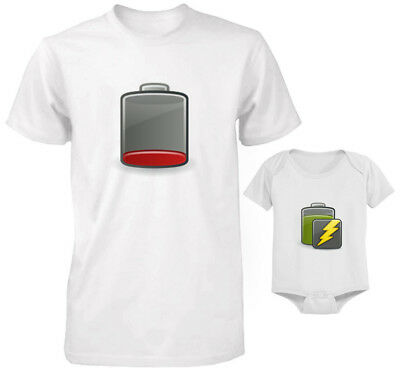 Father And Baby Set T-Shirt And Bodysuit Set Funny Battery Energy Levels