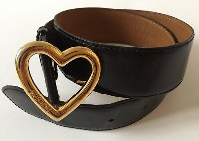 Moschino 100% Authentic Vintage Black Patent Leather Belt With Heart Buckle UK 8