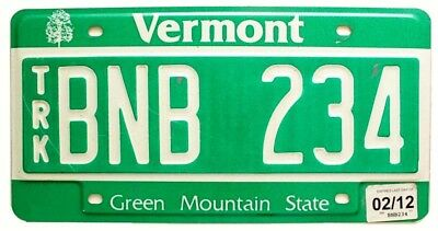 """Vermont 2012 """"Green Mountain State"""" Debossed Truck License Plate, BNB 234"""