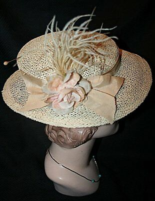 Vintage Natural Straw Wide Brim Hat Floral Feathers & Hat Pin