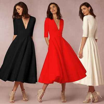UK Women's Vintage Long Ball Gown Prom Cocktail Ladies Evening Party Swing Dress