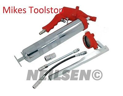 2 in 1 Grease Gun Air Powered or Hand Pumped Rigid & Flexible Nozzles 500cc Auto