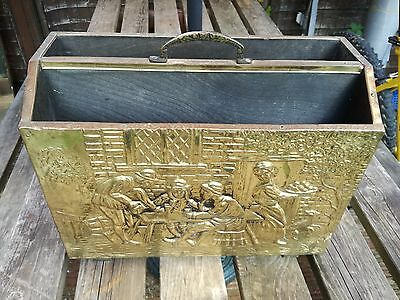 Magazine rack antique vintage brass plate embosed free p&p
