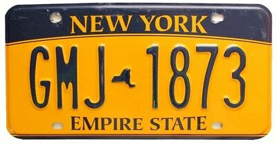 "Colorful New York ""Empire State"" License Plate, GMJ 1873, Blue on Orange"