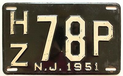 New Jersey 1951 License Plate, Hudson County, Mid-Century Antique, Garage Sign