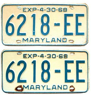 Maryland 1968 Truck License Plate Pair for Ford Chevy GMC Dodge