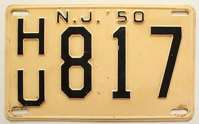 New Jersey 1950 License Plate, HU 817, Hudson County, High Quality Antique