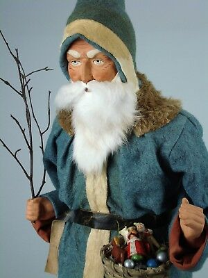 """26""""Paper mache*German Santa* candy container *(gr/blue)by Paul Turner CS17-025"""