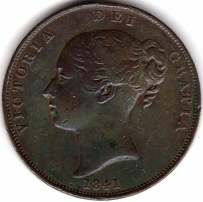 1841 Victoria One Penny No Colon***Collectors***