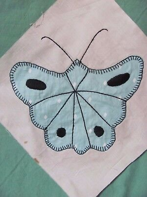 """Beautiful MINT GREEN BUTTERFLY QUILT BLOCK 9"""" square HAND-Embroidered c1930-40's"""