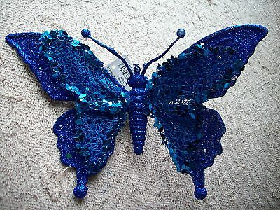 Clip On -  Ornament - Beautiful Blue Clip On  Butterfly