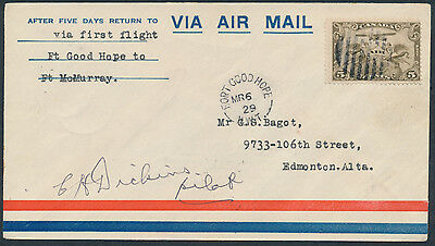 1929 AAMC #2917e, Fort Good Hope to Fort McMurray Flight, Pilot Signed