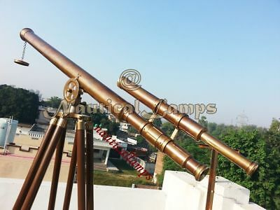 Antique Brass Nautical Telescope with Tripod Large Marine Navy Island Telescope