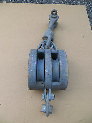 Block & Tackle, Double Pulley Iron & Wood Rope Block And Tackle Nautical / Barn