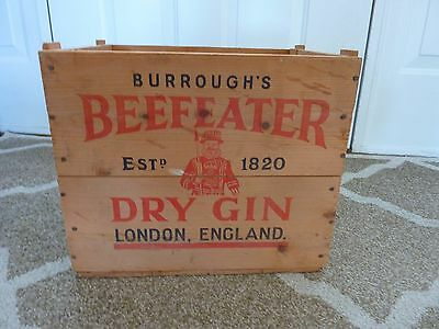 Vintage Original  Burrough's Beefeater Dry Gin Wood Crate~Excellent Condition