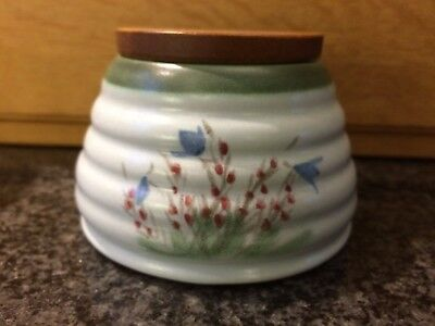 Buchan Pottery Portobello Scotland Stoneware Honey Pot With Wooden Lid 343 715