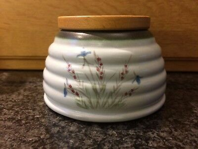 Buchan Pottery Portobello Scotland Stoneware Honey Pot With Wooden Lid 343 712