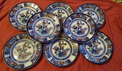 Eight 8.25 inch 'Bombay' Pattern  Blue transfer & Enael Plates mid 19th century