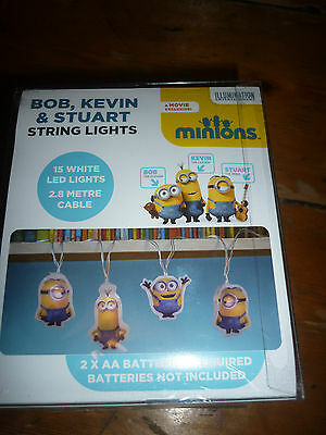 Minions White LED String Lights - Bob, Kevin & Stuart Boxed Childrens