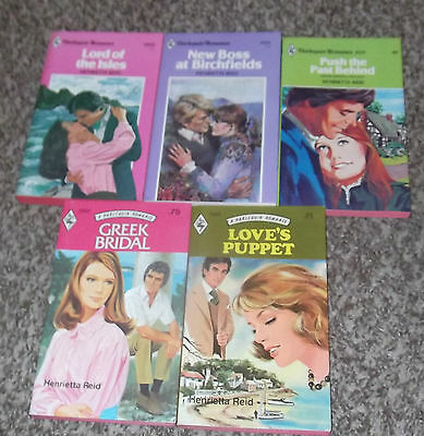 LOT OF 5 HENRIETTA REID NEW HARLEQUIN VINTAGE ROMANCE BOOKS 1970's & 1980's #1