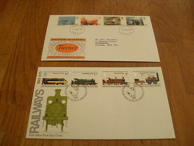 England  F-D Covers- British Painters Turner 1975 / Railways 1975