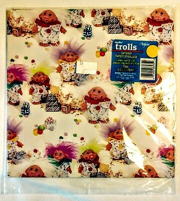 Vintage Trolls Christmas Giftwarp 2 Sheets Wrapping Paper 8.3 Sq Ft Norfin 1992