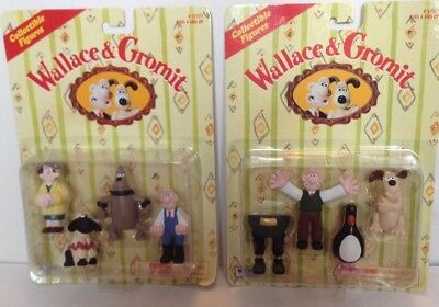 WALLACE & GROMIT collectible figures 1989 2 set close shave + the wrong trousers