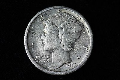 1917-S Mercury Dime LOT1J24 XF 10C 10 Cent US Silver Coin Cleaned
