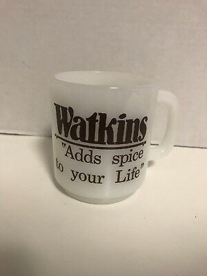 Watkins Adds Spice To Yoir Life Glass Cup Mug White Advertising Vintage