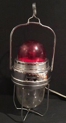 Vintage Mid Century Classic Car Hanging Inspection Light Lamp RARE Red Kings