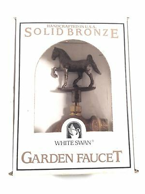Solid Bronze Horse Handle Vintage Garden Faucet By White Swan Handcrafted In USA
