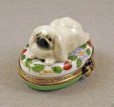 New French Limoges Trinket Box Cute Pekingese Dog Puppy On Strawberry Box